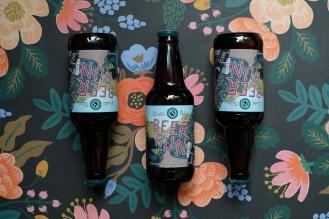 Beer run beer bottles aligned in a pattern