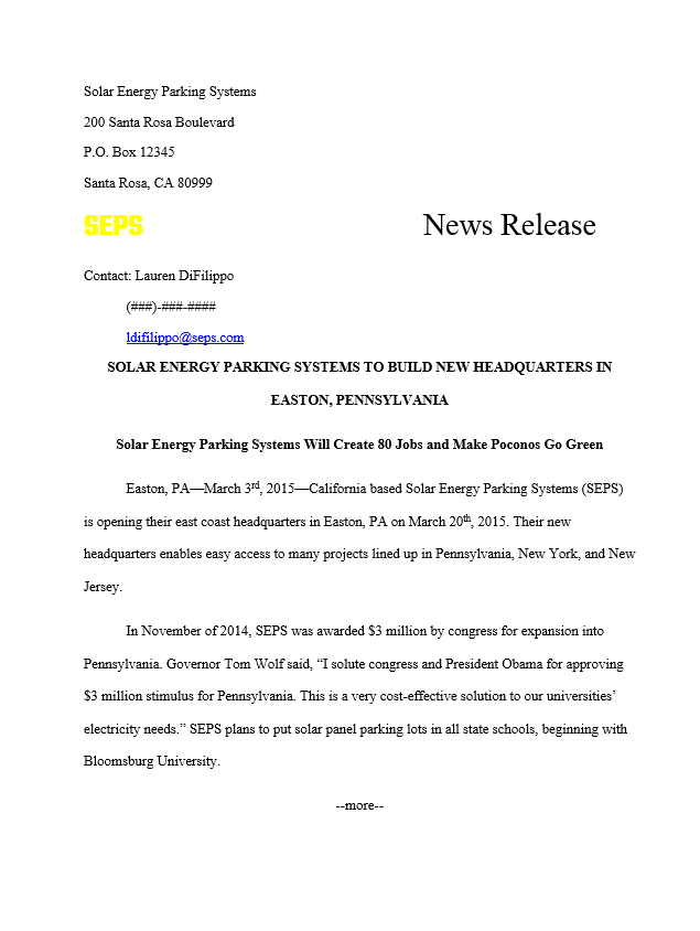 news release example
